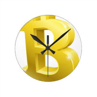Bitcoin 3d Gold Sign Symbol Round Clock