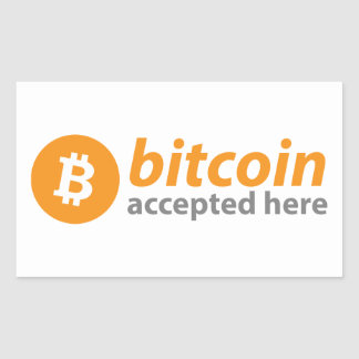 Bitcoin Accepted Here Rectangle Stickers