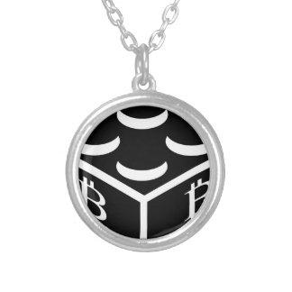 Bitcoin Block / Blockchain Silver Plated Necklace