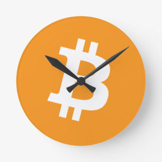 Bitcoin Crypto Currency Logo Round Clock