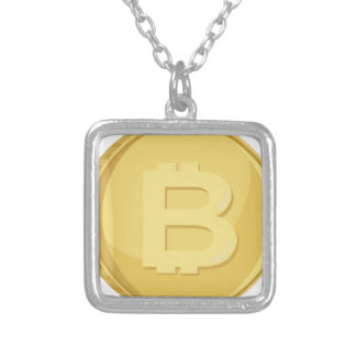 Bitcoin Cryptocurrency Silver Plated Necklace