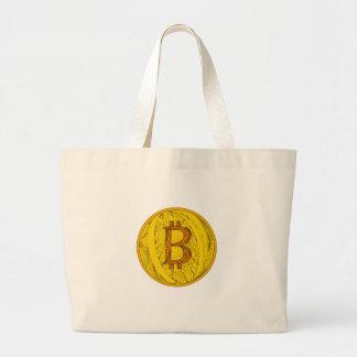 Bitcoin Doodle Art Large Tote Bag