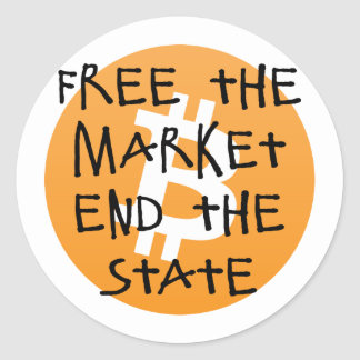 Bitcoin - Free the Market End the State Round Sticker
