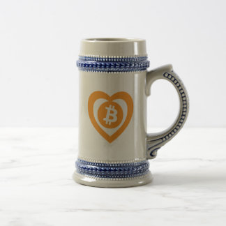 Bitcoin Heart Logo Symbol Cryptocurrency Stein