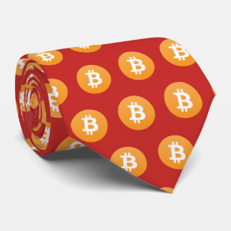 Bitcoin Icon Pattern Red Tie