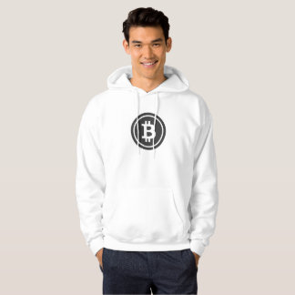 Bitcoin Logo Hoodie Black on White