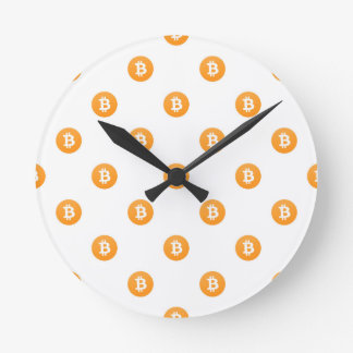 Bitcoin Logo Pattern Round Clock