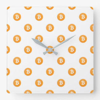 Bitcoin Logo Pattern Square Wall Clock