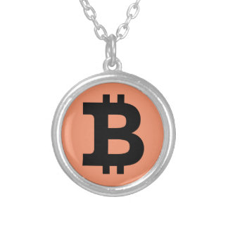 Bitcoin logo silver plated necklace