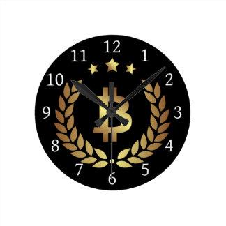 Bitcoin Logo Symbol Crypto Coin Crest Wall Clock