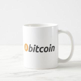Bitcoin logo writing basic white mug