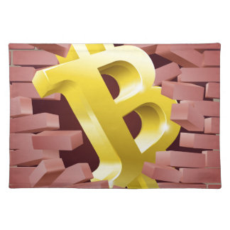 Bitcoin Sign Breaking Through Wall Concept Placemat