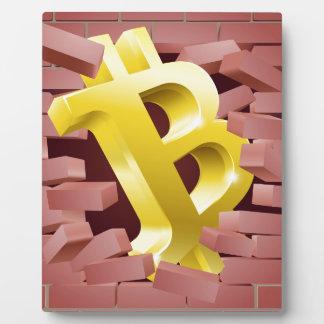 Bitcoin Sign Breaking Through Wall Concept Plaque