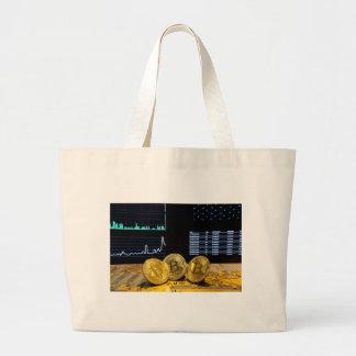 Bitcoin trio circuit market charts clean large tote bag
