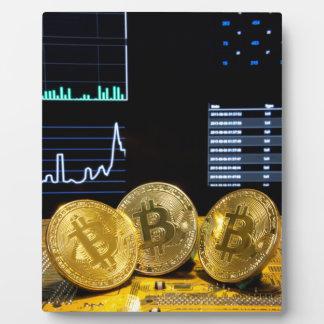 Bitcoin trio circuit market charts clean plaque