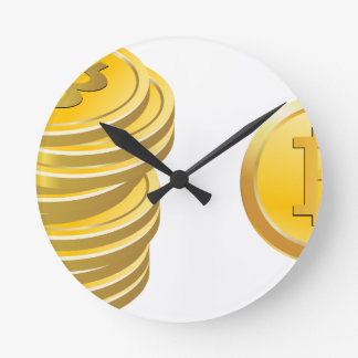 Bitcoins Stacked Round Clock