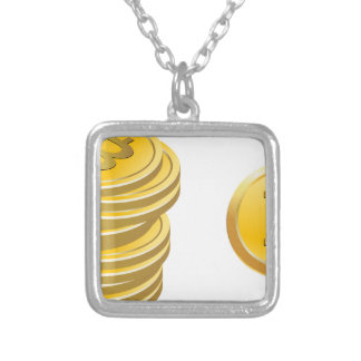 Bitcoins Stacked Silver Plated Necklace