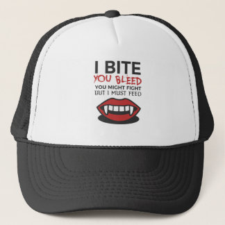 Bite Bleed Fight Feed Halloween Design Trucker Hat