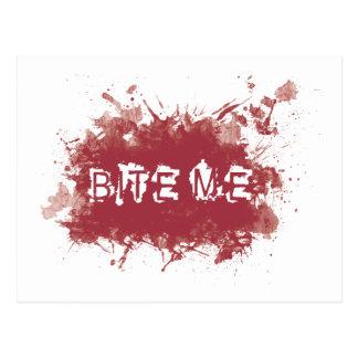 Bite me blood stain postcard
