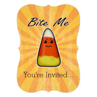 Bite me cute funny Kawai Halloween candy corn Invite