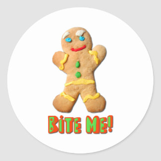 Bite Me Gingerbread Man Classic Round Sticker