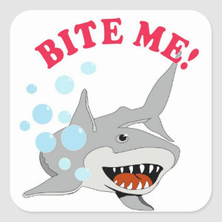 Bite Me Shark Square Sticker