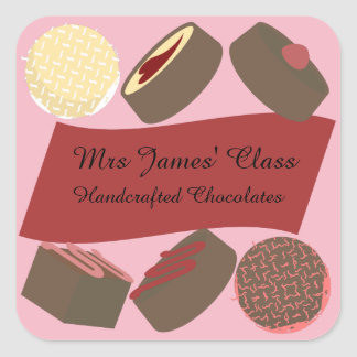 Bite-size Chocolates Square Sticker