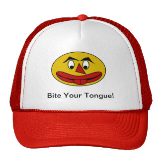 Bite Your Tongue Funny Yellow Face Cap