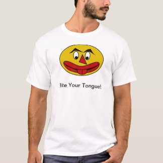 Bite Your Tongue Funny Yellow Face T-Shirt