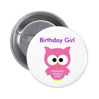 Bithday girl owl button