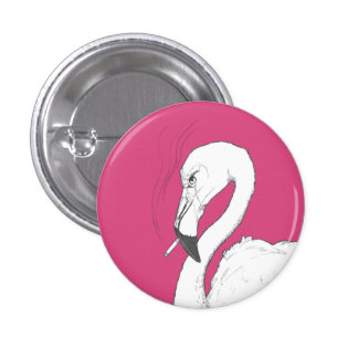 Bitter Flamingo Illustration Button | Quirky Art