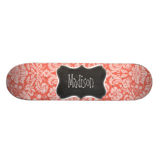 Bittersweet Color Damask Pattern; Chalkboard Custom Skate Board