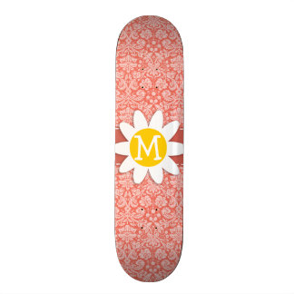 Bittersweet Color Damask Pattern; Daisy Custom Skate Board