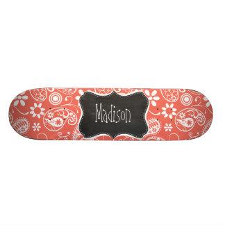 Bittersweet Color Paisley; Retro Chalkboard Custom Skate Board