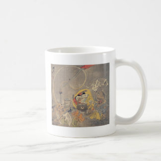 Bizarre Ancient Japanese Painting of Demons Basic White Mug