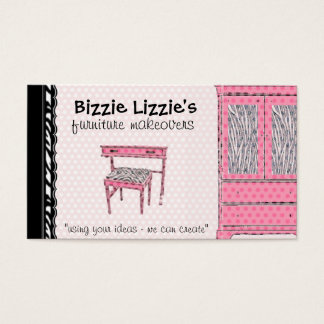 Bizzie Lizzie Zebra and Dots Business Card