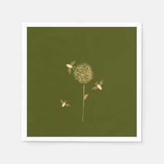 Bizzy Bees on a Dandelion Paper Napkins Disposable Napkin