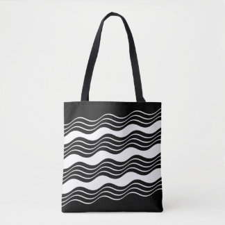 Bl;ack & White All-Over-Print Tote Bag