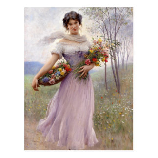 Blaas: Girl in Lilac with Flowers Postcard
