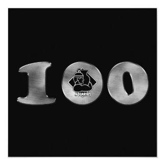 Black 100th Birthday Silver Number 100 13 Cm X 13 Cm Square Invitation Card