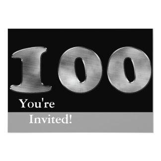 Black 100th Birthday Silver Number 100 13 Cm X 18 Cm Invitation Card