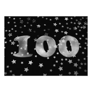 Black 100th Birthday Silver Number 100 Personalized Invites