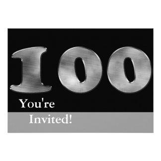 Black 100th Birthday Silver Number 100 Invitations