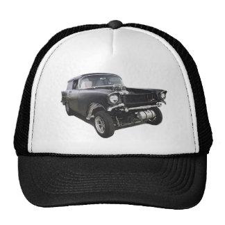 Black 1957 Chevy sedan delivery wagon gasser drag Cap