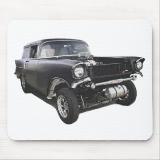 Black 1957 Chevy sedan delivery wagon gasser drag Mouse Pad