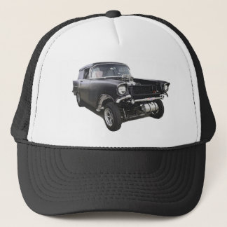 Black 1957 Chevy sedan delivery wagon gasser drag Trucker Hat