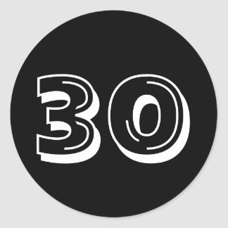 Black 30th Birthday Stickers