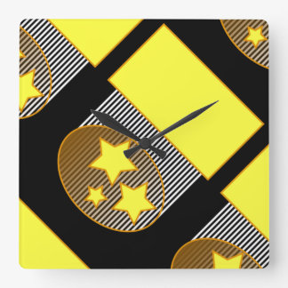 Black 3 yellow stars black background bold clock