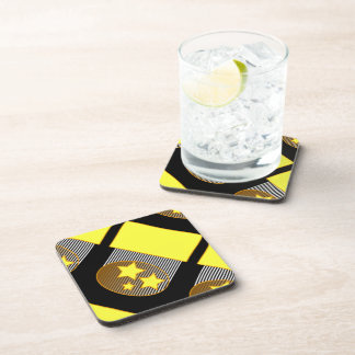 Black 3 yellow stars black background coasters