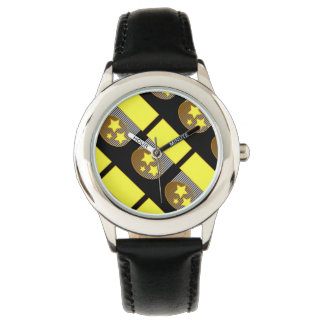 Black 3 yellow stars black bold design watch